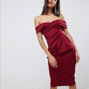 ASOS Bardot fold wrap pencil midi dress